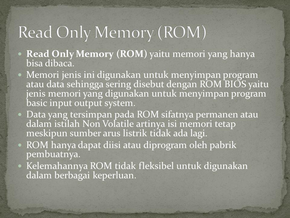 Read Only Memory (ROM) Read Only Memory (ROM) yaitu memori yang hanya bisa dibaca.