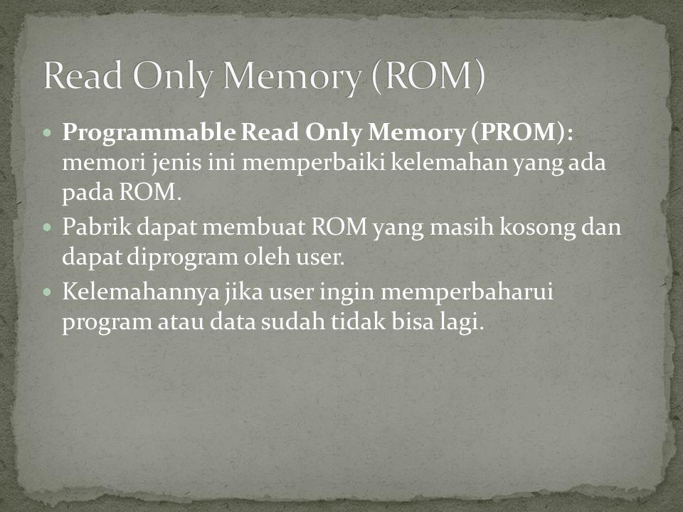Read Only Memory (ROM) Programmable Read Only Memory (PROM): memori jenis ini memperbaiki kelemahan yang ada pada ROM.