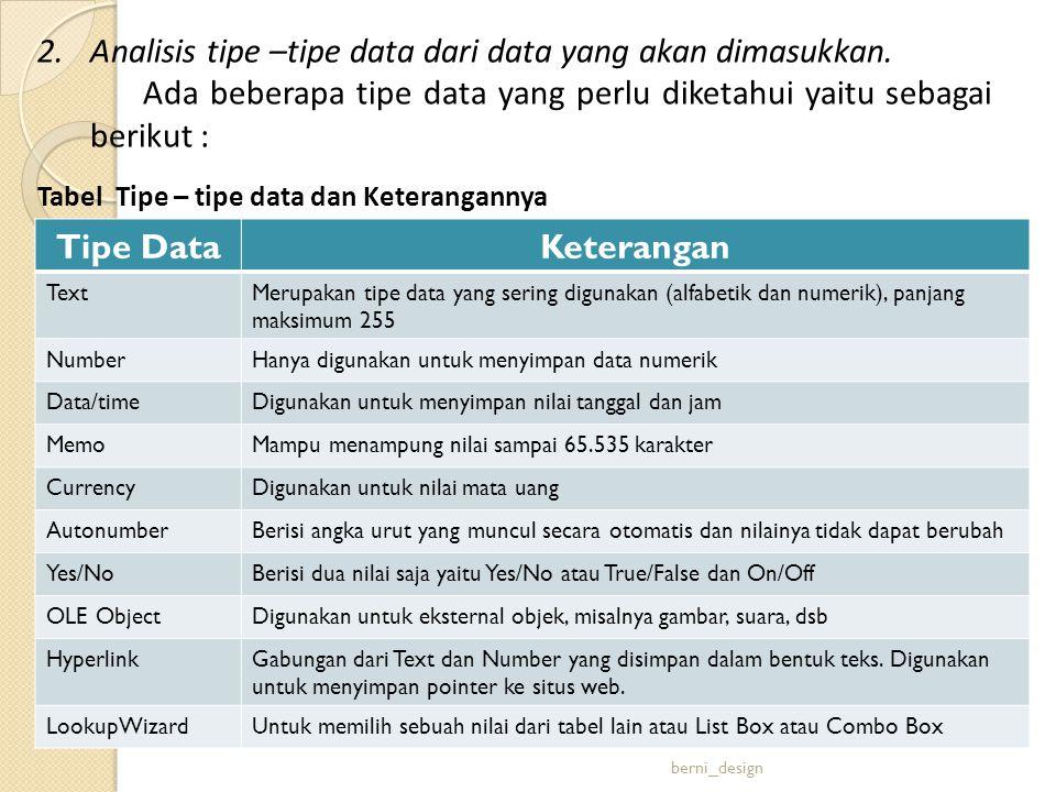 Analisis tipe –tipe data dari data yang akan dimasukkan.