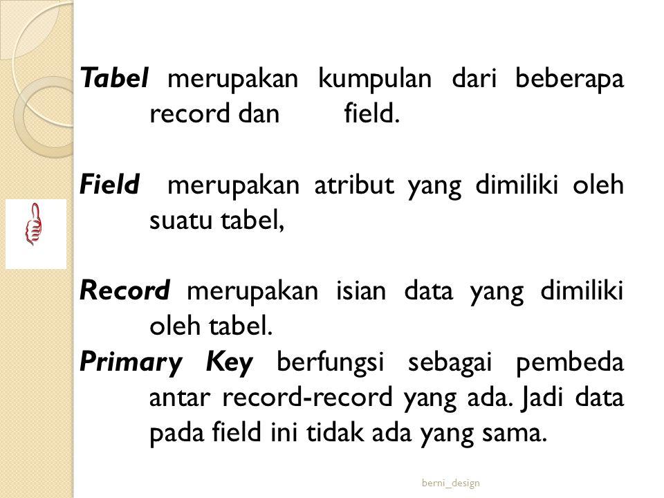 Tabel merupakan kumpulan dari beberapa record dan field.