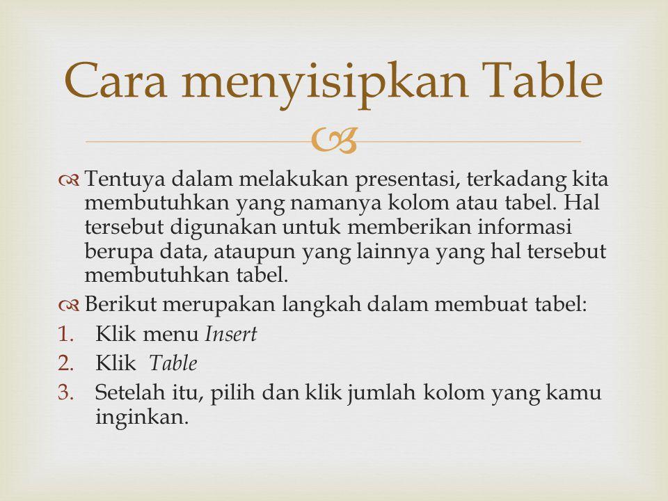 Cara menyisipkan Table