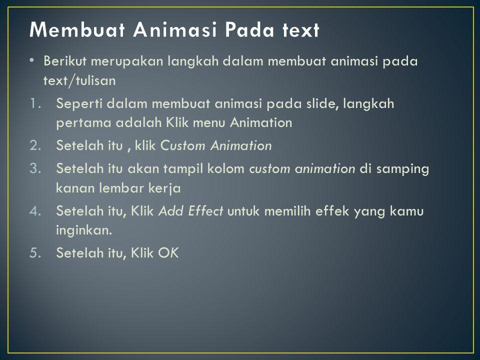 Membuat Animasi Pada text