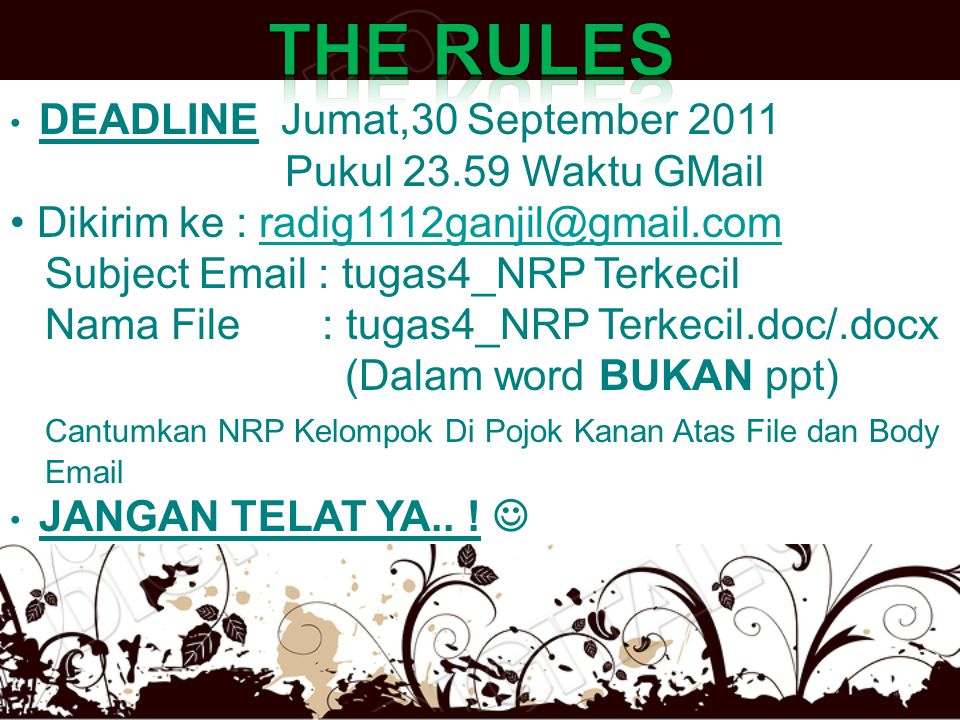 The rules Pukul 23.59 Waktu GMail