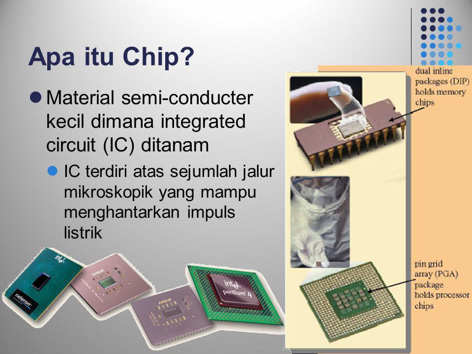 Apa itu Chip Material semi-conducter kecil dimana integrated circuit (IC) ditanam.
