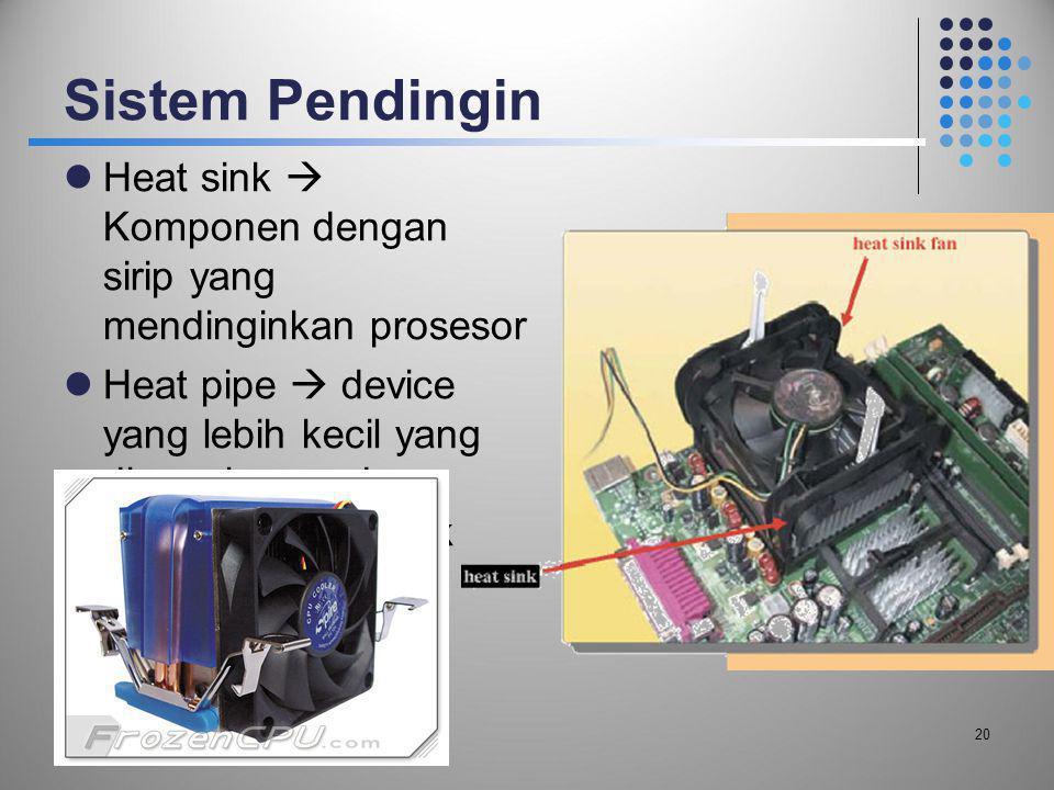 Sistem Pendingin Heat sink  Komponen dengan sirip yang mendinginkan prosesor.
