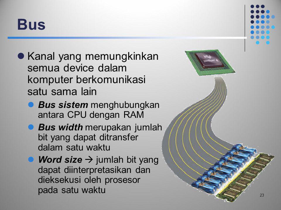 Bus Kanal yang memungkinkan semua device dalam komputer berkomunikasi satu sama lain. Bus sistem menghubungkan antara CPU dengan RAM.