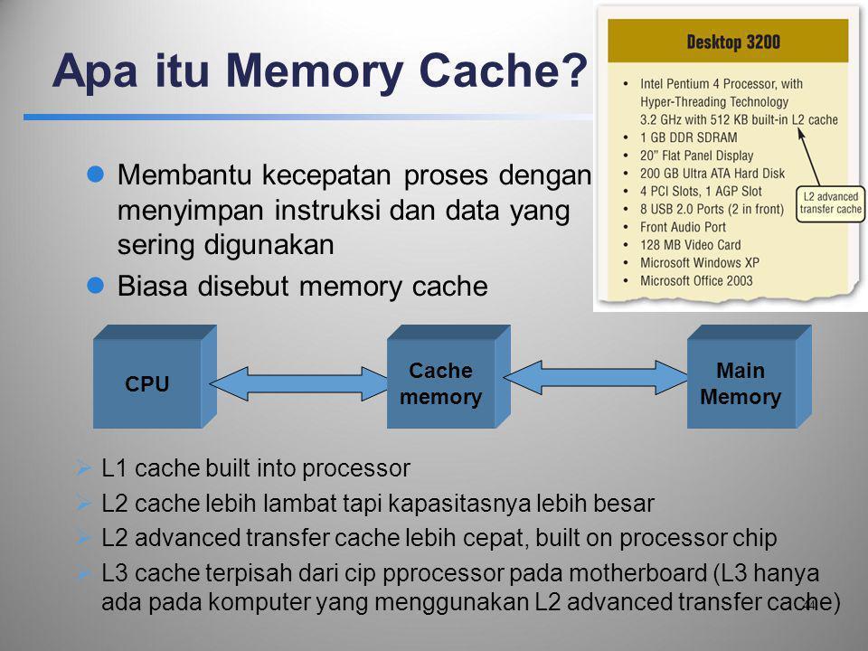 Apa itu Memory Cache Membantu kecepatan proses dengan menyimpan instruksi dan data yang sering digunakan.
