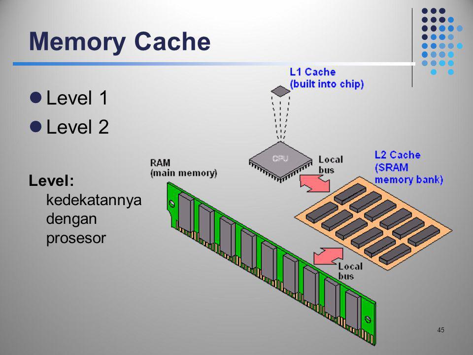 Memory Cache Level 1 Level 2 Level: kedekatannya dengan prosesor 45 45