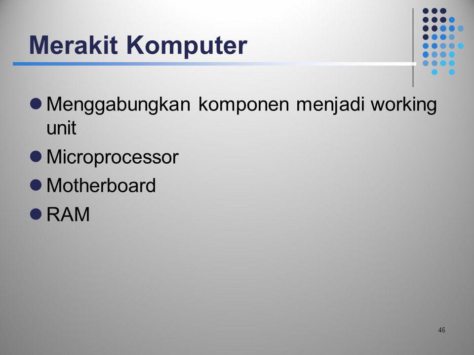 Merakit Komputer Menggabungkan komponen menjadi working unit