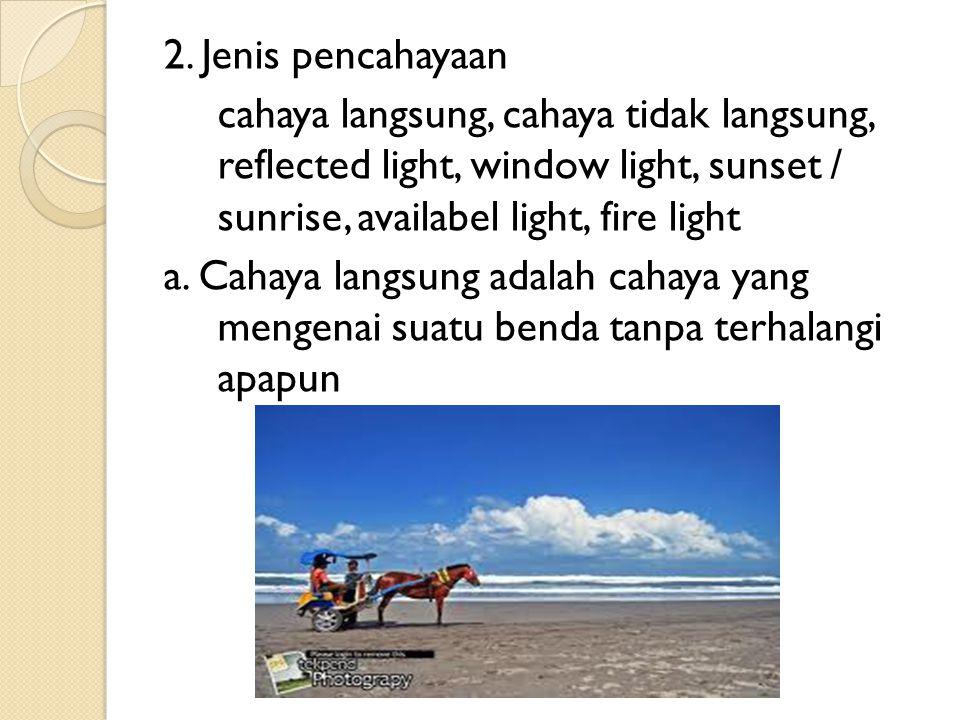 2. Jenis pencahayaan cahaya langsung, cahaya tidak langsung, reflected light, window light, sunset / sunrise, availabel light, fire light.