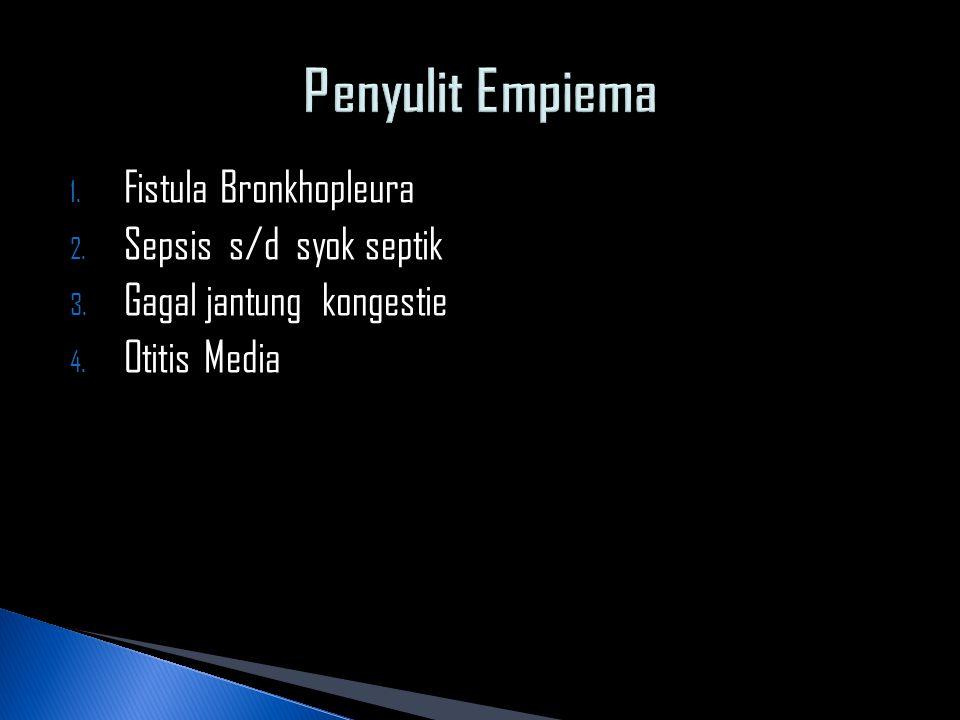 Penyulit Empiema Fistula Bronkhopleura Sepsis s/d syok septik