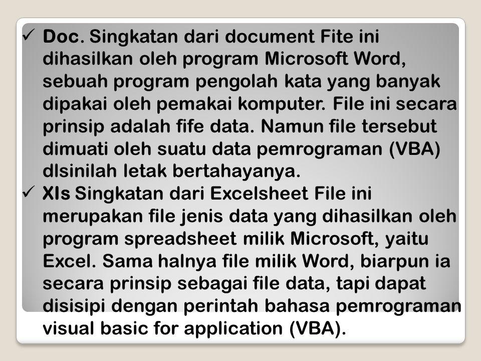 Doc. Singkatan dari document Fite ini dihasilkan oleh program Microsoft Word, sebuah program pengolah kata yang banyak dipakai oleh pemakai komputer. File ini secara prinsip adalah fife data. Namun file tersebut dimuati oleh suatu data pemrograman (VBA) dlsinilah letak bertahayanya.