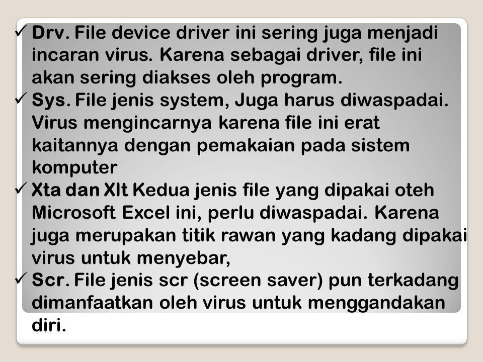 Drv. File device driver ini sering juga menjadi incaran virus