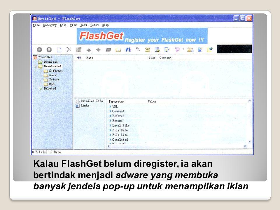 Kalau FlashGet belum diregister, ia akan bertindak menjadi adware yang membuka banyak jendela pop-up untuk menampilkan iklan