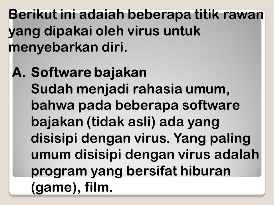 Berikut ini adaiah beberapa titik rawan yang dipakai oleh virus untuk menyebarkan diri.