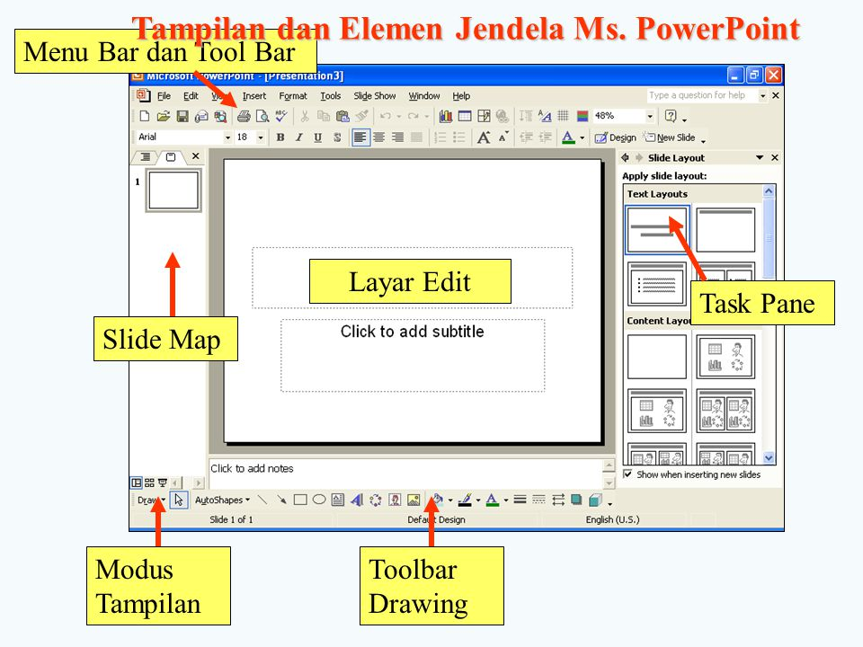 Tampilan dan Elemen Jendela Ms. PowerPoint
