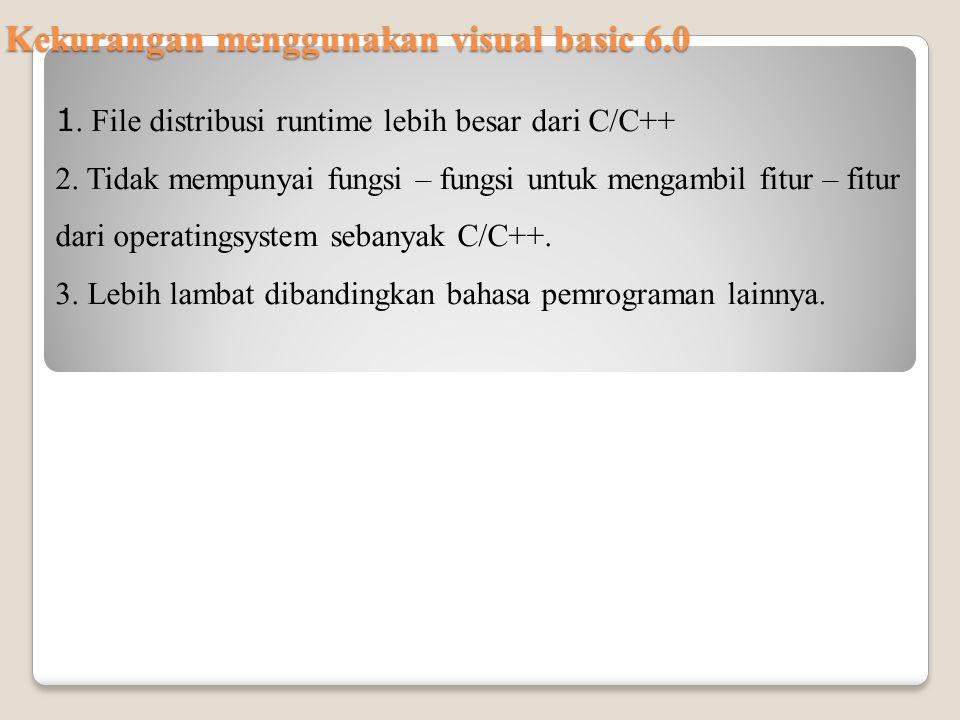 Kekurangan menggunakan visual basic 6.0