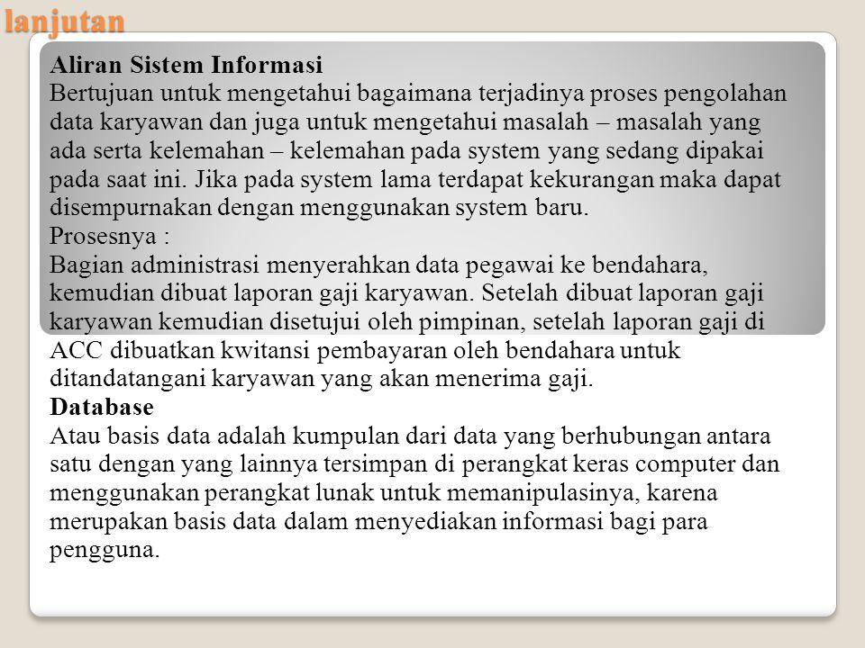 lanjutan Aliran Sistem Informasi
