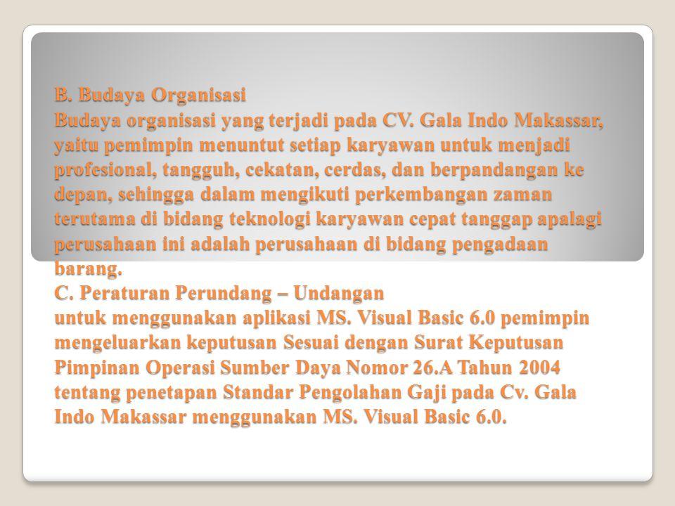 B. Budaya Organisasi Budaya organisasi yang terjadi pada CV