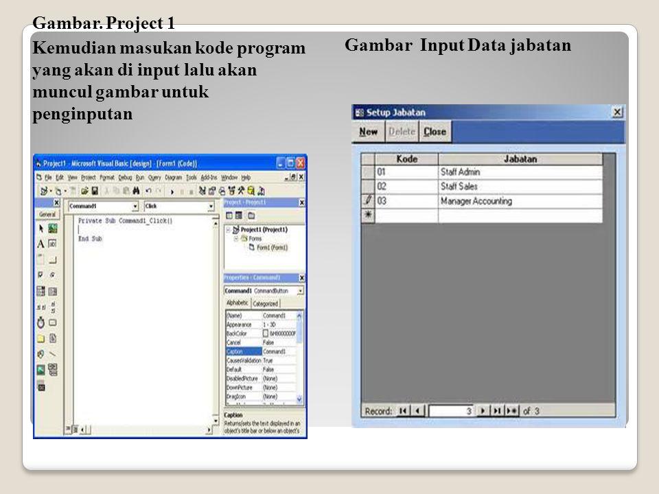 Gambar. Project 1 Kemudian masukan kode program yang akan di input lalu akan muncul gambar untuk penginputan.