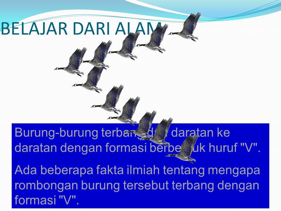 BELAJAR DARI ALAM Burung-burung terbang dari daratan ke daratan dengan formasi berbentuk huruf V .