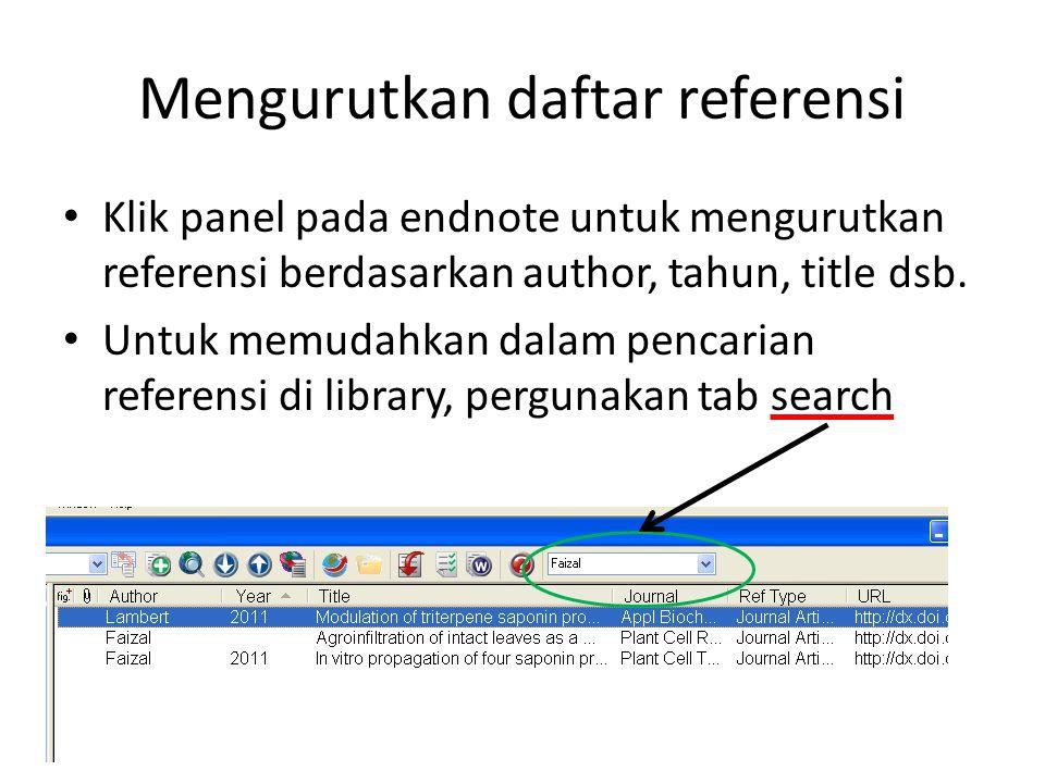 Mengurutkan daftar referensi