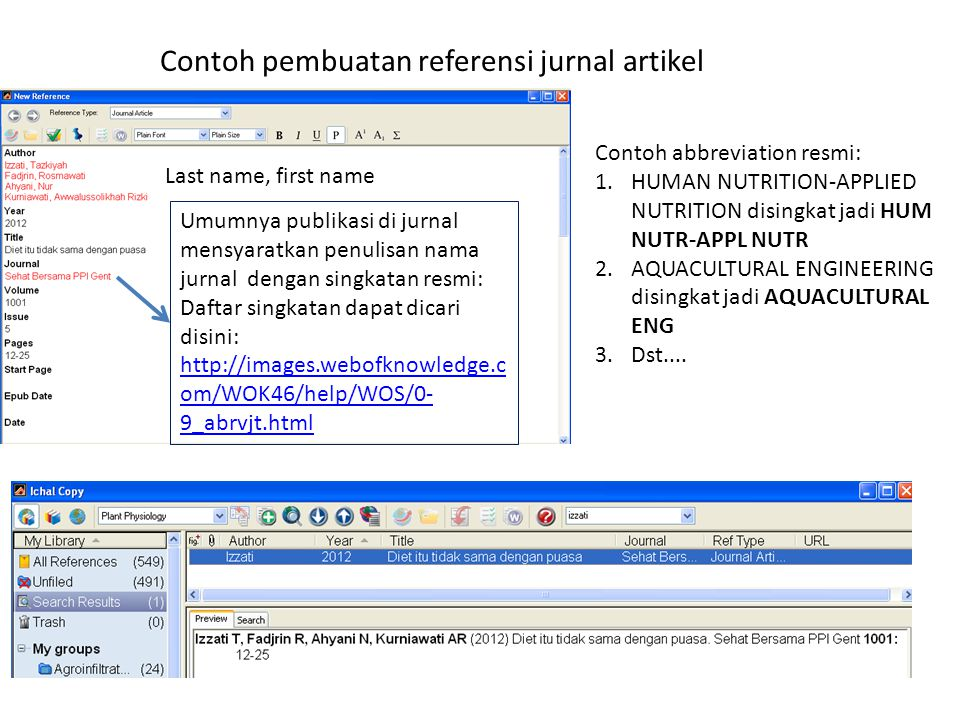 Contoh pembuatan referensi jurnal artikel
