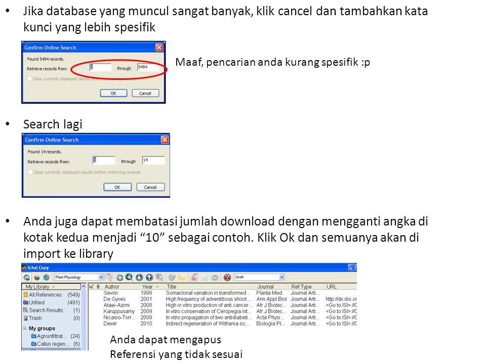 Jika database yang muncul sangat banyak, klik cancel dan tambahkan kata kunci yang lebih spesifik