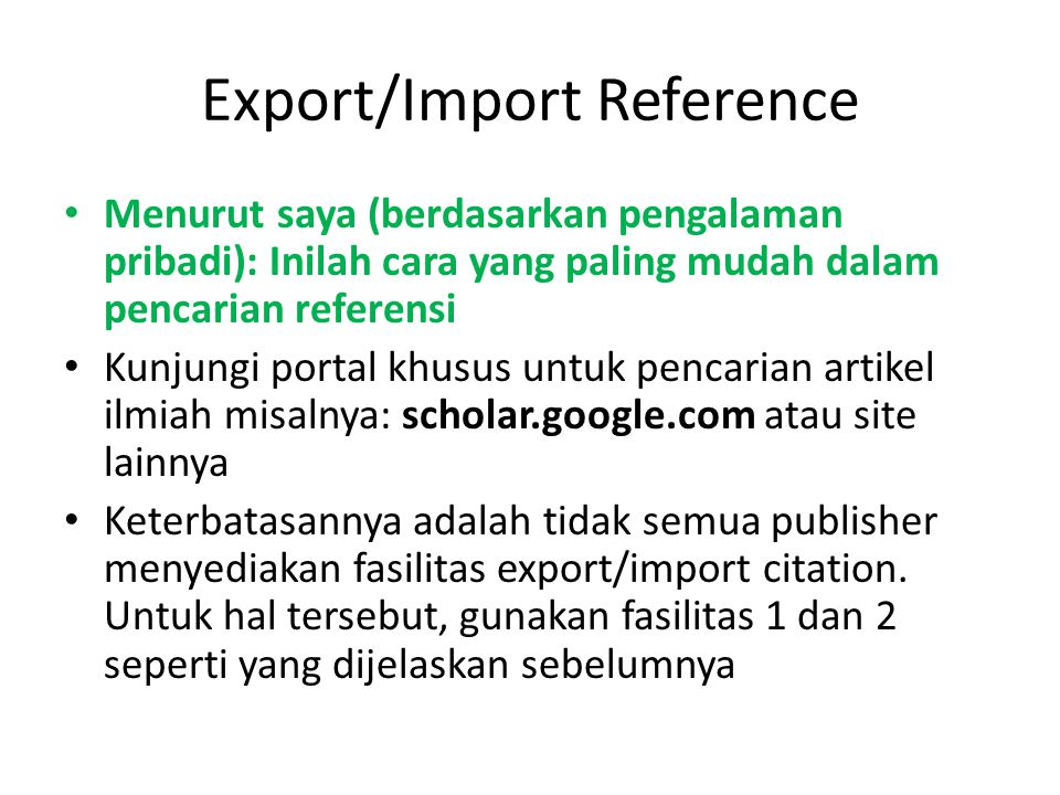 Export/Import Reference