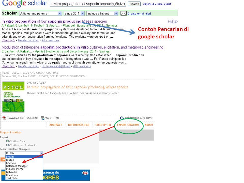 Contoh Pencarian di google scholar