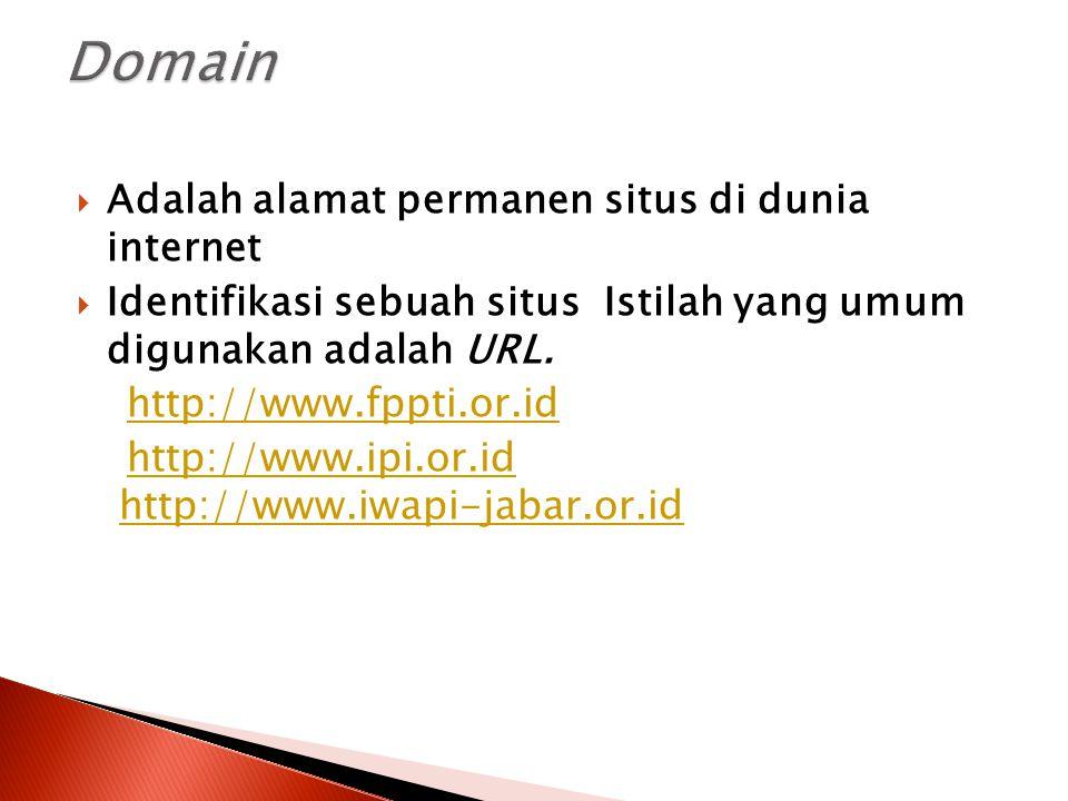 Domain Adalah alamat permanen situs di dunia internet