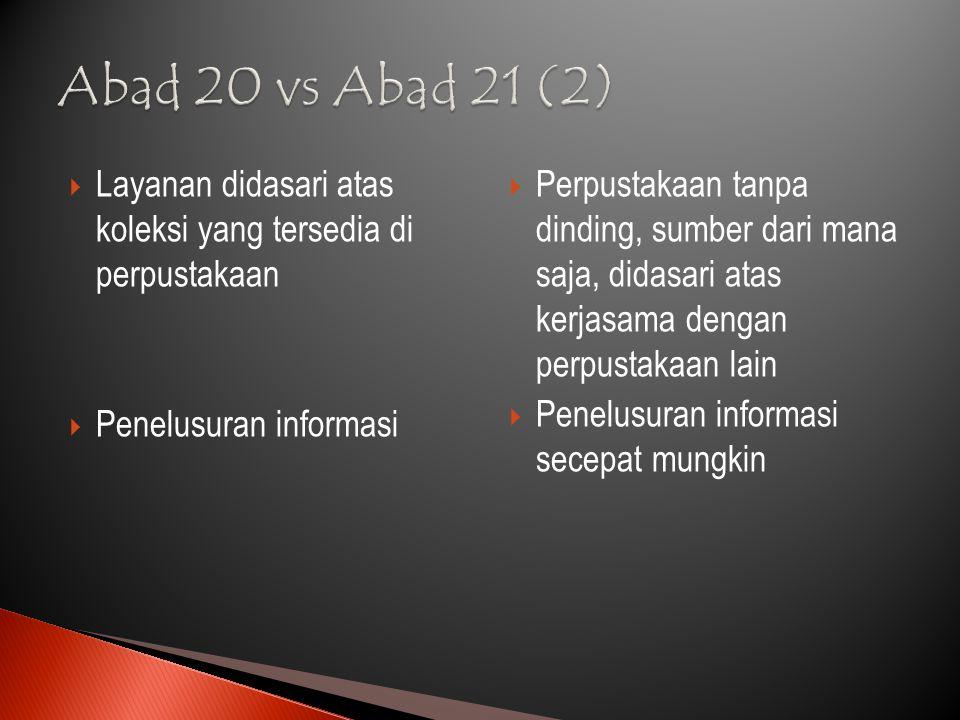 Abad 20 vs Abad 21 (2) Layanan didasari atas koleksi yang tersedia di perpustakaan. Penelusuran informasi.