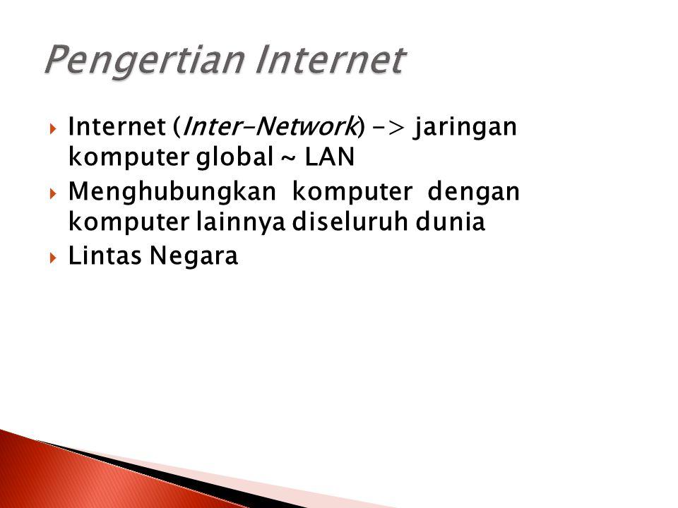 Pengertian Internet Internet (Inter-Network) -> jaringan komputer global ~ LAN. Menghubungkan komputer dengan komputer lainnya diseluruh dunia.