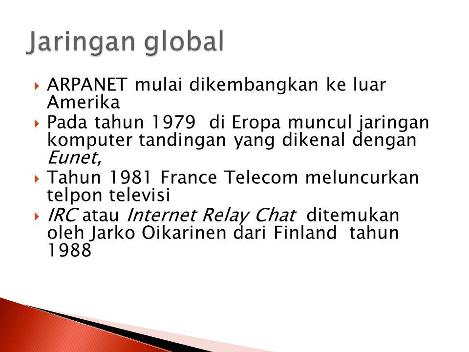 Jaringan global ARPANET mulai dikembangkan ke luar Amerika