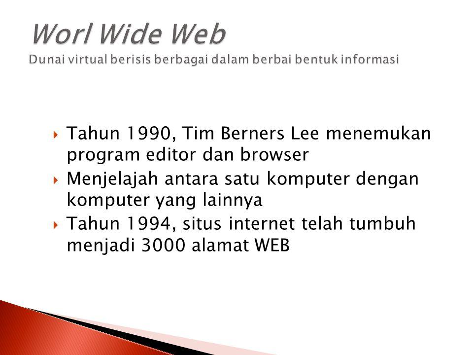 Worl Wide Web Dunai virtual berisis berbagai dalam berbai bentuk informasi