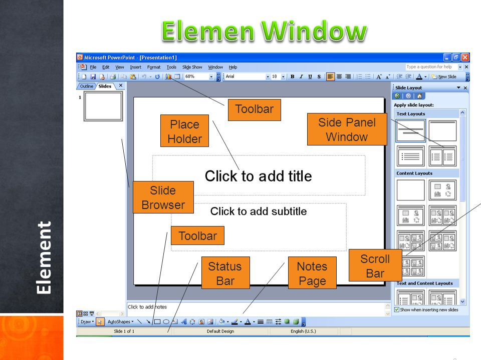 Elemen Window Element Toolbar Place Holder Side Panel Window