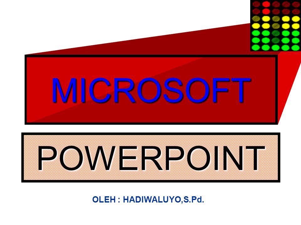 MICROSOFT POWERPOINT OLEH : HADIWALUYO,S.Pd.
