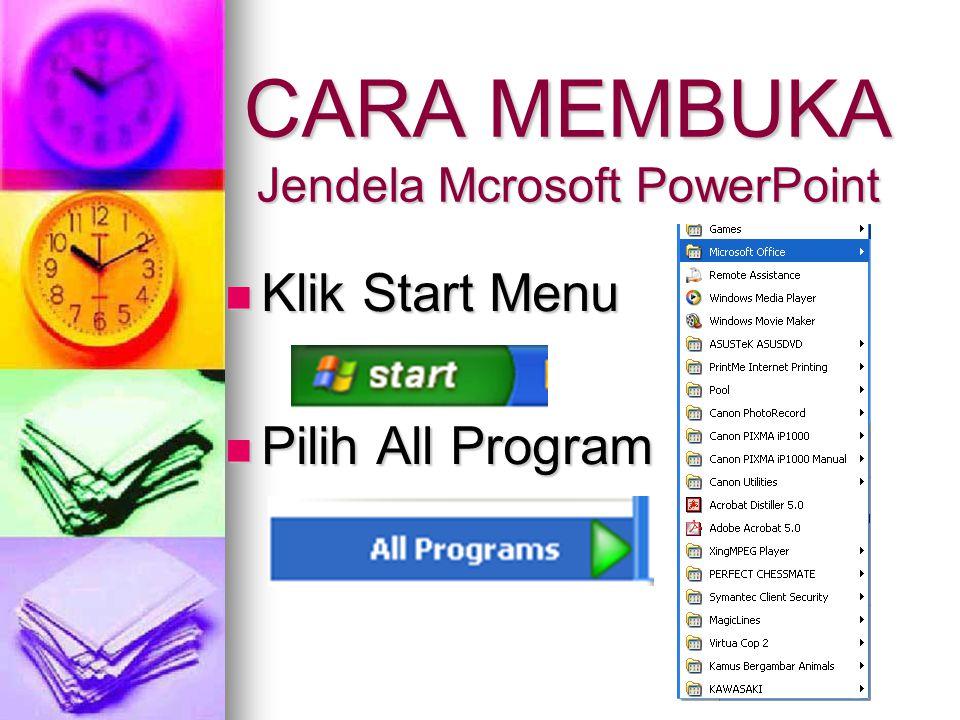 CARA MEMBUKA Jendela Mcrosoft PowerPoint
