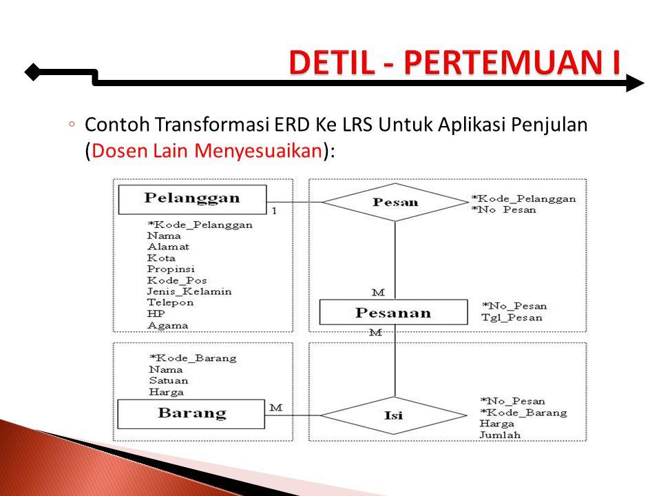 DETIL - PERTEMUAN I Contoh Transformasi ERD Ke LRS Untuk Aplikasi Penjulan (Dosen Lain Menyesuaikan):