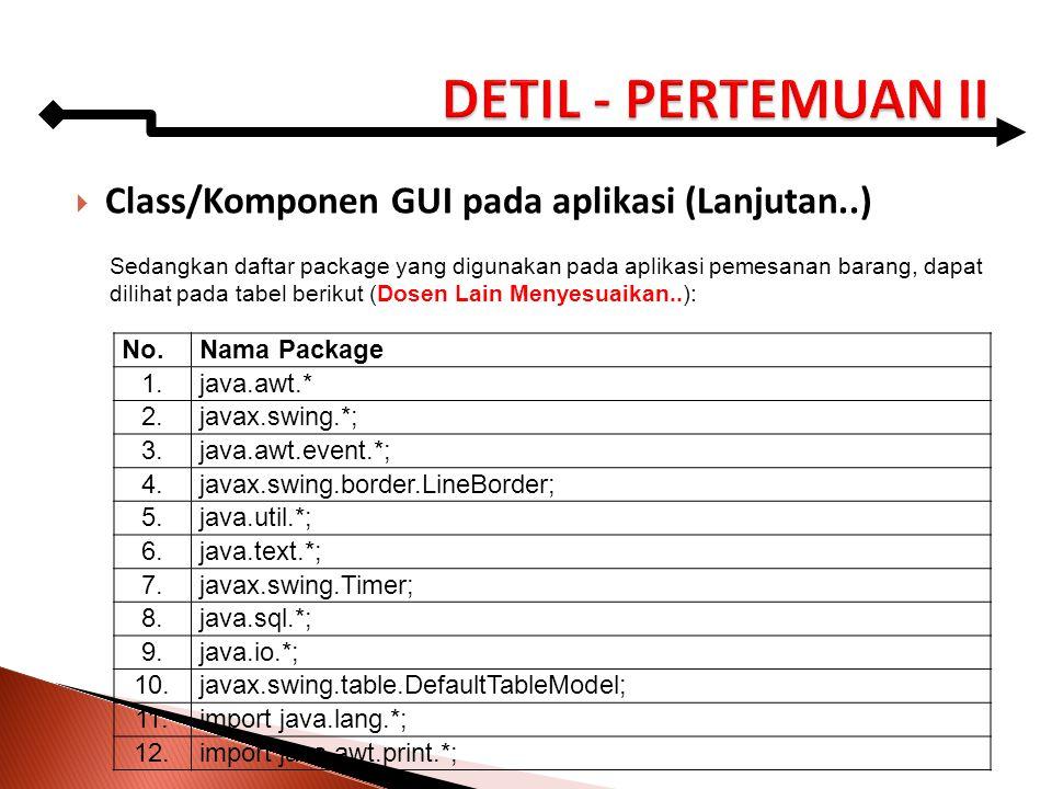DETIL - PERTEMUAN II Class/Komponen GUI pada aplikasi (Lanjutan..) No.
