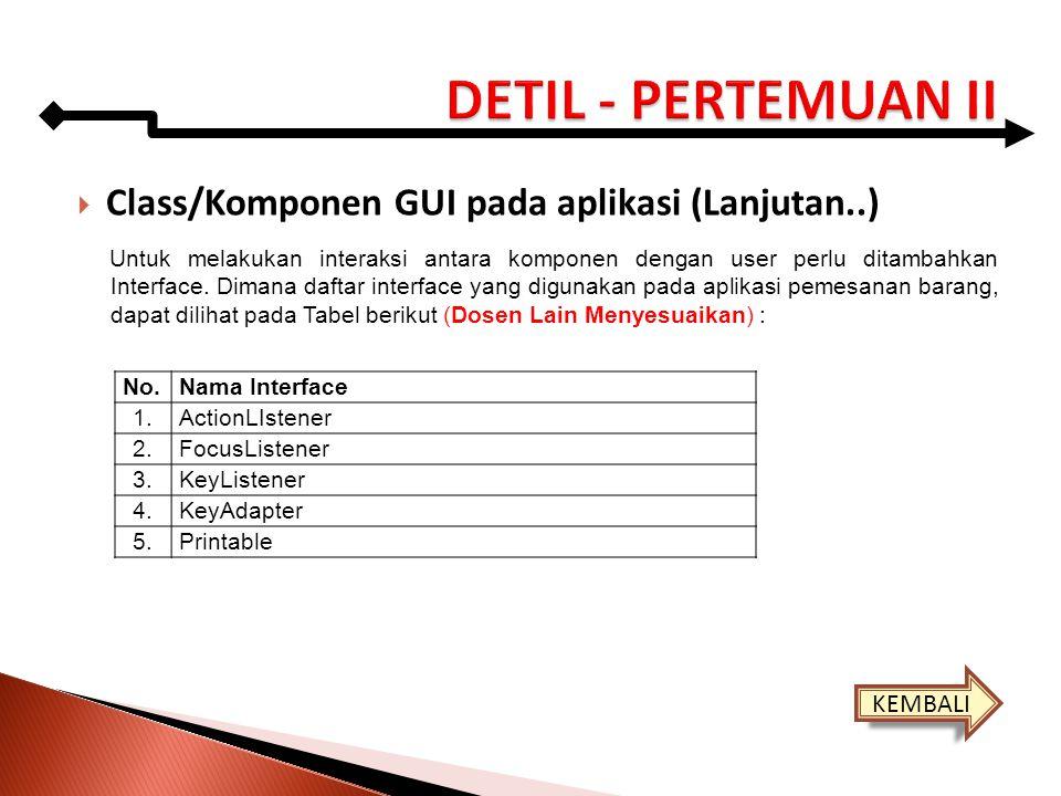 DETIL - PERTEMUAN II Class/Komponen GUI pada aplikasi (Lanjutan..)