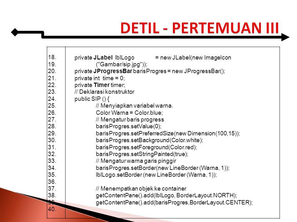 DETIL - PERTEMUAN III 18. 19. 20. 21. 22. 23. 24. 25. 26. 27. 28. 29. 30. 31. 32. 33.