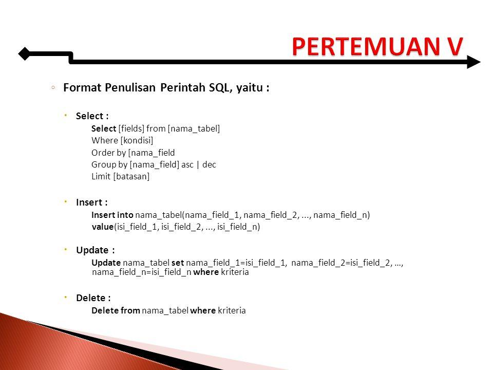 PERTEMUAN V Format Penulisan Perintah SQL, yaitu : Select : Insert :