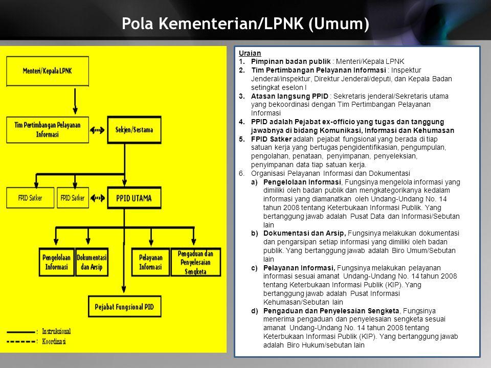 Pola Kementerian/LPNK (Umum)