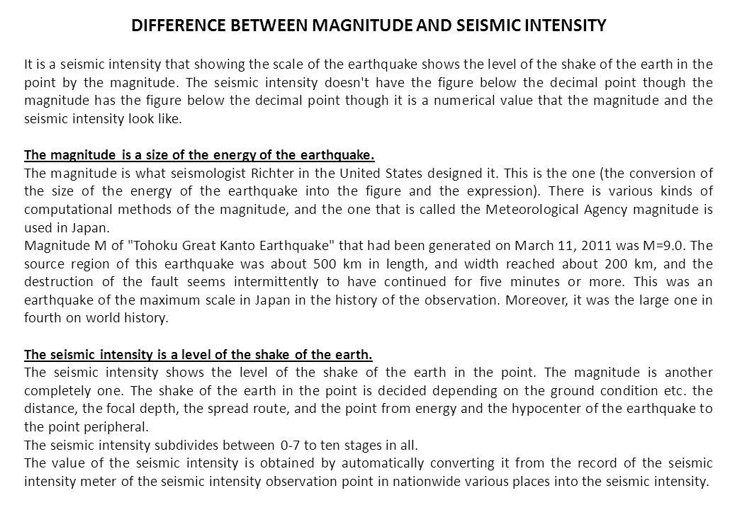 DIFFERENCE BETWEEN MAGNITUDE AND SEISMIC INTENSITY
