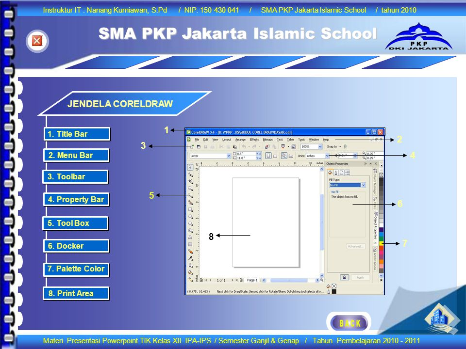 JENDELA CORELDRAW 1 2 3 4 5 6 8 7 1. Title Bar 2. Menu Bar 3. Toolbar
