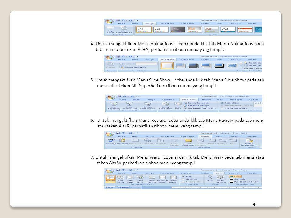 4. Untuk mengaktifkan Menu Animations, coba anda klik tab Menu Animations pada tab menu atau tekan Alt+A, perhatikan ribbon menu yang tampil.