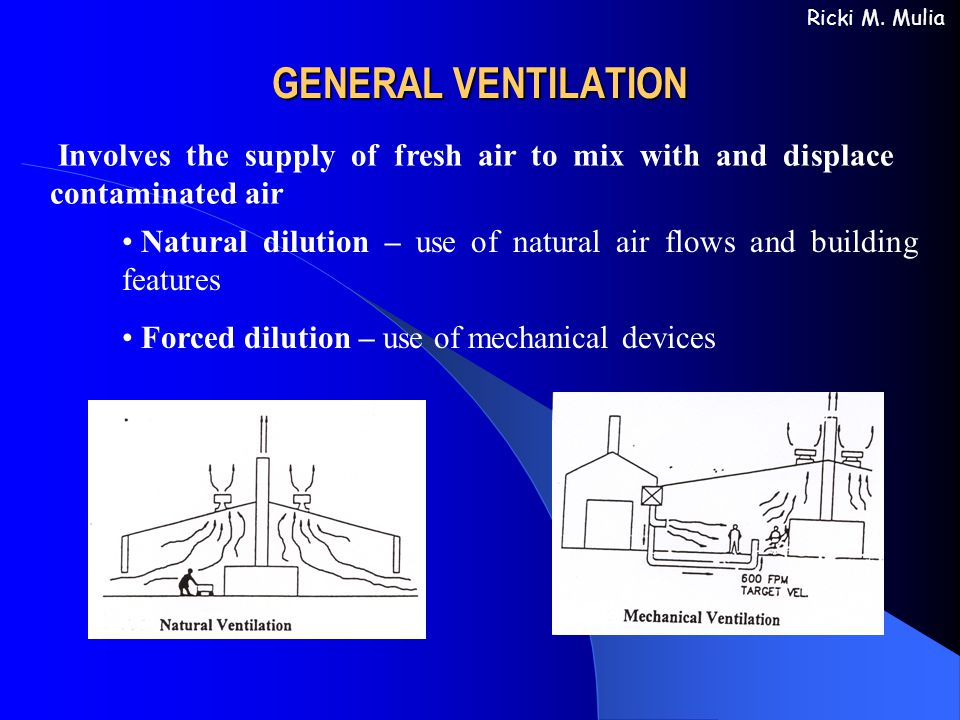 GENERAL VENTILATION Ricki M. Mulia. Involves the supply of fresh air to mix with and displace contaminated air.