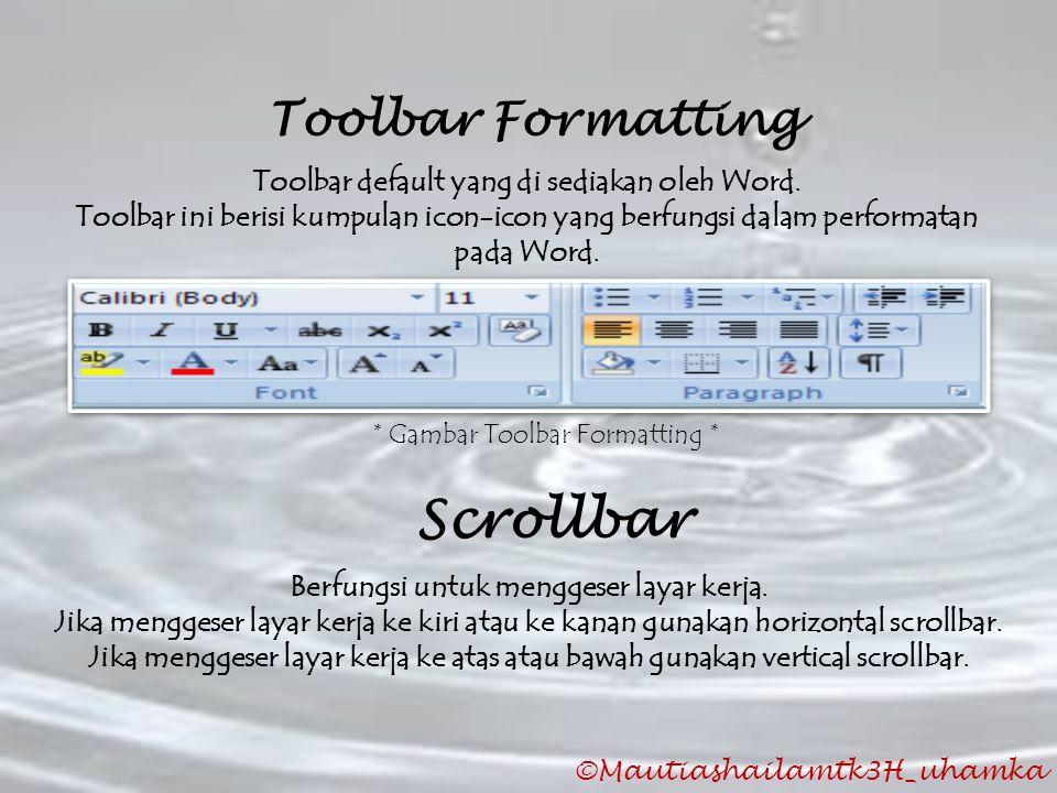 Scrollbar Toolbar Formatting