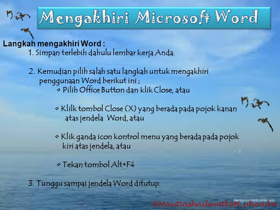 Mengakhiri Microsoft Word